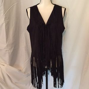 Persun faux black suede fringed vest size large